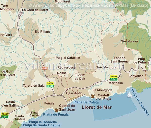 Карта районирования недвижимости в Ллорет де Мар