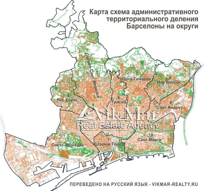 Схема округов Барселоны