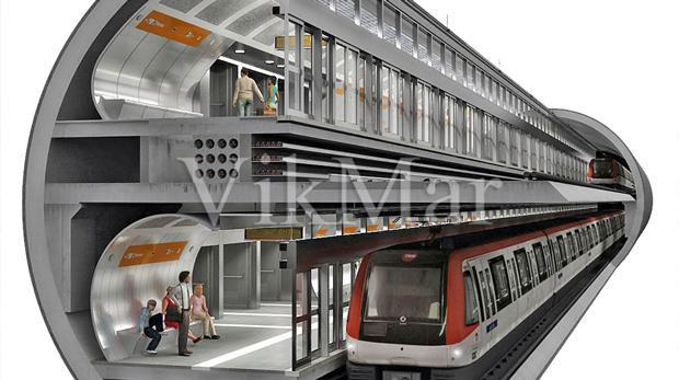 Двухуровневый тоннель метро в Барселоне
