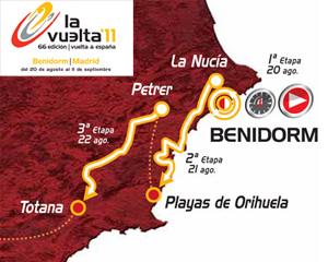 """Карта-схема 1 и 2 этапов велогонки """"Vuelta a España"""" 2011 (Бенидорм, Ла Нусия-Ориуела)"""