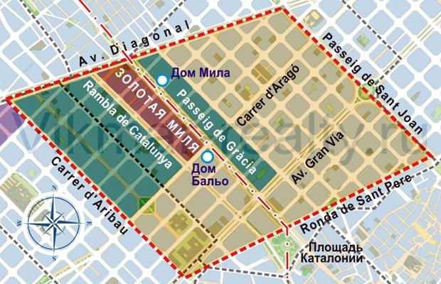 Карта территориального зонирования в районе «Золотая Миля» и «Золотой квадрат испанского модерна»
