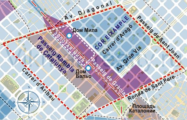 Карта территориального зонирования коммерческой недвижимости в центре Барселоны
