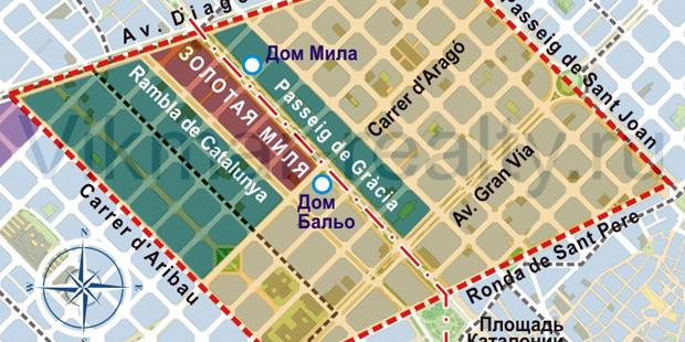 Территориальное зонирование жилой и коммерческой недвижимости в центре Барселоны в районе «Золотая Миля» и «Золотой квадрат испанского модерна». Обзор от Агентства Vikmar (Викмар)