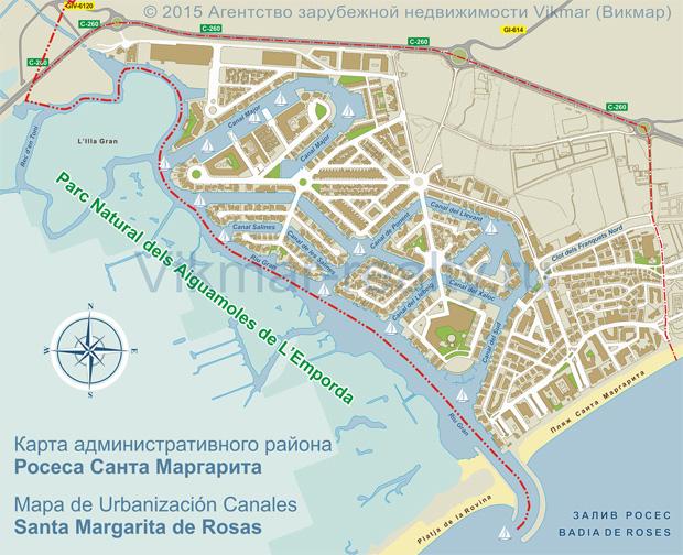 Карта административного района Санта Маргарита города Росас (Rosas / Roses), Испания (коммерческое районирование недвижимости в городе Росесе). Mapa de Urbanización Canales Santa Margarita de Rosas