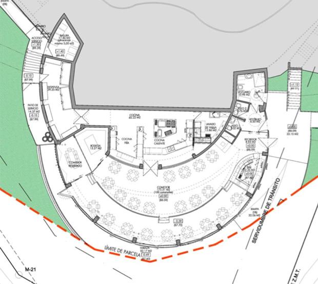 План помещений ресторана на мысе Альфаро